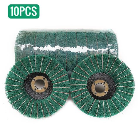10 pieces de roue aaile volante verticale de 4 pouces, roue de trefilage, tampon arecurer plat poli avec toile emeri, disque abrasif, meuleuse amain, vert grossier