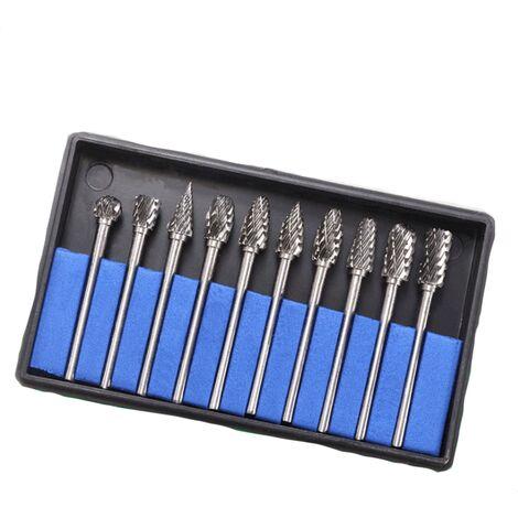 10 pièces foret 3 * 6 tête de meulage en acier au tungstène lime rotative en carbure couteau à découper tête de meulage
