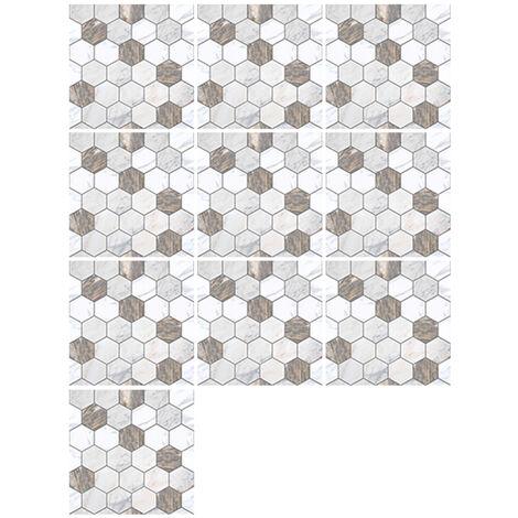 10 Pieces / Set Auto-Adhesif Carreaux Art Stickers Muraux Amovibles Autocollant Mural Cuisine Dosseret Salle De Bains Maison Tidy Protection, 28#