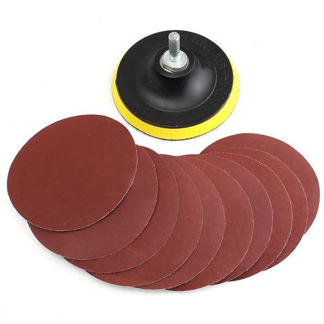 10 piezas de pulido de papel de lija de 4 pulgadas disco 1000 # + adaptador de lijado de 1 pieza + varilla M10 Hasaki
