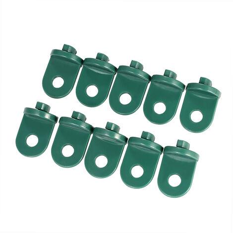10 piezas, gancho de plastico, accesorios para invernadero, verde militar
