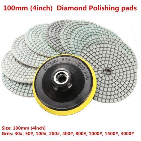 10 piezas / juego de almohadilla de pulido de diamante seco húmedo de 4 pulgadas para mármol, hormigón, piedra de granito Mohoo