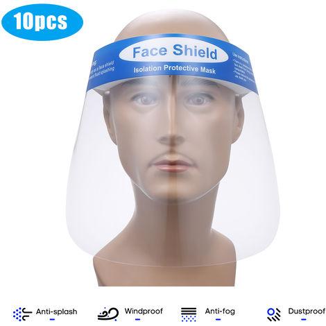 10 piezas, protector facial, transparente, salpicadura antisaliva y antisalpicaduras