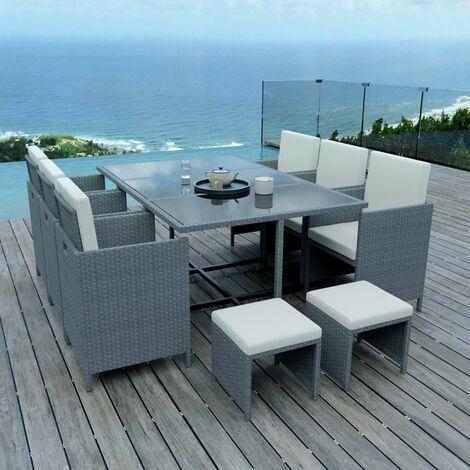 10 Places - Ensemble encastrable salon / table de jardin résine ...