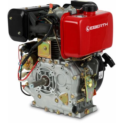 10 PS Dieselmotor (E-Start, 25,4 mm Wellendurchmesser, Ölmangelsicherung, 1 Zylinder, 4-Takt, luftgekühlt, Seilzugstart, Lichtmaschine, Batterie) Standmotor Kartmotor