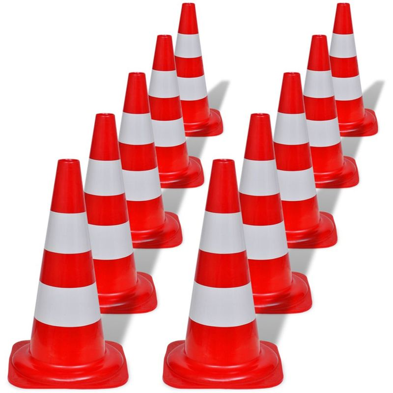 Image of 10 Reflective Traffic Cones Red and White 50 cm VD04163