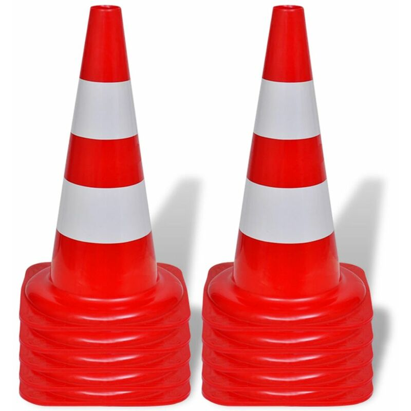 Image of 10 Reflective Traffic Cones Red and White 50 cm QAH04163