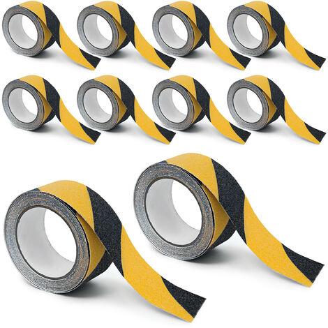 10 Rollen Anti-Rutsch-Klebeband, 50m, Antirutschbelag für sichere Treppenstufen, Innen & Außen, 50mm breit, schwarz-gelb