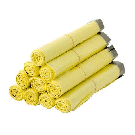 10 Rollen Gelber Sack, Gelbe Säcke 90 Liter HDPE Gelb 13 Stück pro Rolle, insgesamt 130 Stück - ca. 60x87 cm plus 5 cm Umschlag 15my - Ideal für Mülltonnen, Mülleimer und Körbe
