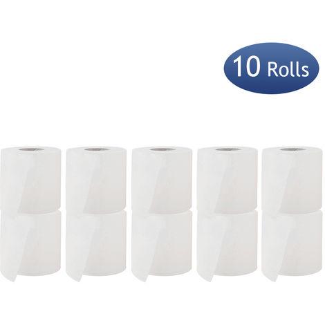 10 rollos de papel higienico, toallas de papel de bano, 3 capas, 180 secciones, blanco