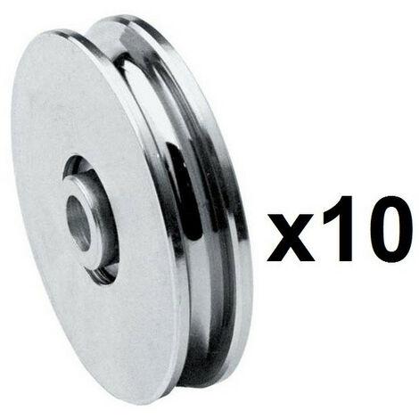 10 Roues gorge U 10mm - Ø45mm en acier