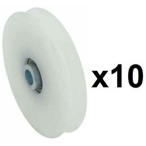 10 Roues gorge U 10mm - Ø60mm en nylon