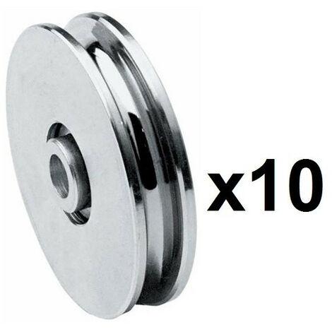 10 Roues gorge U 10mm - Ø80mm