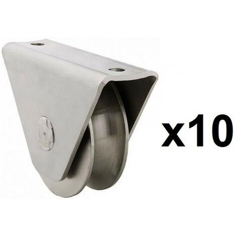 10 Roues gorge U sur roulement pour portail 16mm en applique - Ø80mm