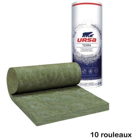 10 rouleaux laine de verre URSA MNU 40 TERRA nu - Ep. 100mm - 96m² - R 2.50