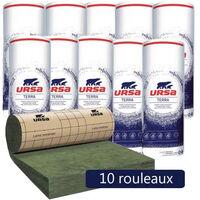 10 rouleaux laine de verre URSA MRK 40 TERRA revêtu kraft - Ep. 200mm - 54m² - R 5
