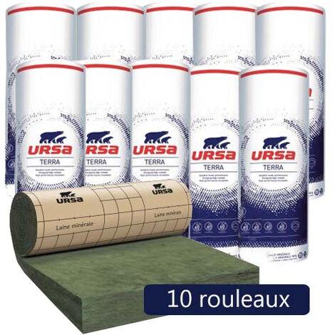 3,12m/² Isolation combles perdus R 7.5 Ep 300mm Rouleau laine de verre URSA MRK 40 TERRA rev/êtu kraft