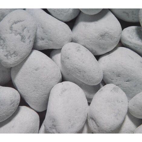 10 Sacchi da 25kg di Ciottoli marmo Bianco Carrara 40/60 mm sassi pietre