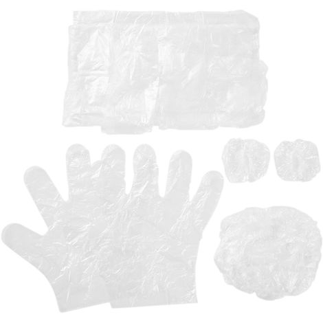 10 Sets/pack 4pcs Disposable Plastic Hair Care Dyeing Tools Kit Single Use Salon Hair Cap Ear Cover Gloves Apron