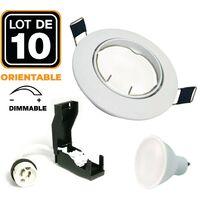 10 Spots encastrable orientable BLANC avec GU10 7W Dimmable Blanc Chaud 2800K