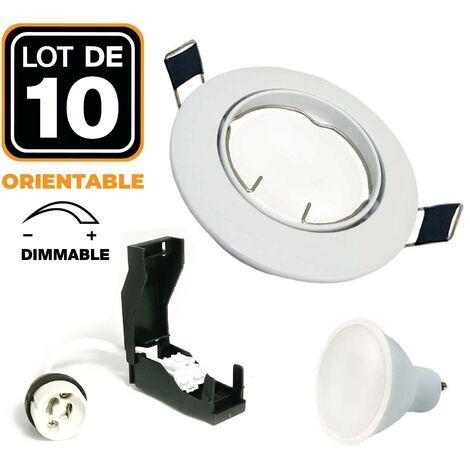 10 Spots encastrable orientable BLANC avec GU10 7W Dimmable Blanc Chaud 3000K