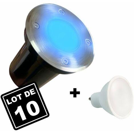 10 Spots Encastrables de Sol Rond Inox 304 Exterieur IP65 + Ampoules GU10 7W BLEU
