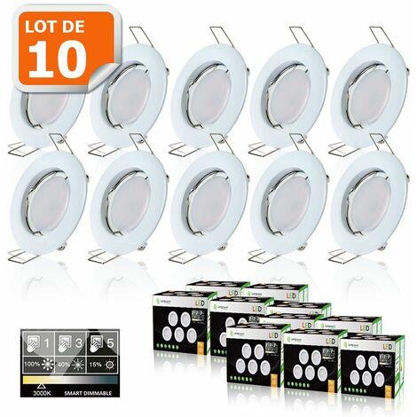 10 SPOTS LED DIMMABLE SANS VARIATEUR 7W eq.56w BLANC CHAUD FINITION BLANC
