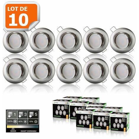 10 SPOTS LED DIMMABLE SANS VARIATEUR 7W eq.56w BLANC CHAUD ORIENTABLE