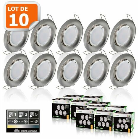 10 SPOTS LED DIMMABLE SANS VARIATEUR 7W eq.56w BLANC NEUTRE FINITION ALU BROSSE