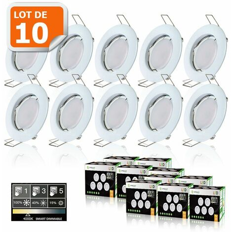 10 SPOTS LED DIMMABLE SANS VARIATEUR 7W eq.56w BLANC NEUTRE FINITION BLANC