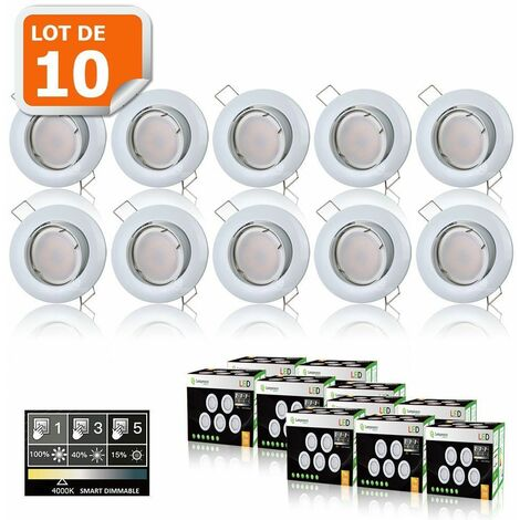 10 SPOTS LED DIMMABLE SANS VARIATEUR 7W eq.56w BLANC NEUTRE ORIENTABLE FINITION BLANC