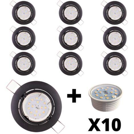 10 Spots Led encastrables extra plats dimmables noirs mat équipés LED 5W 2700K