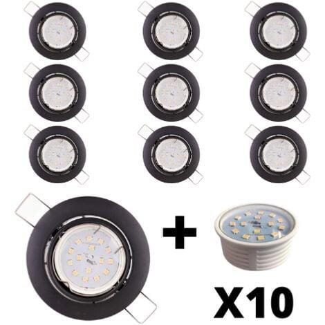 10 Spots Led encastrables extra plats noirs mat équipés LED 5W 4000K