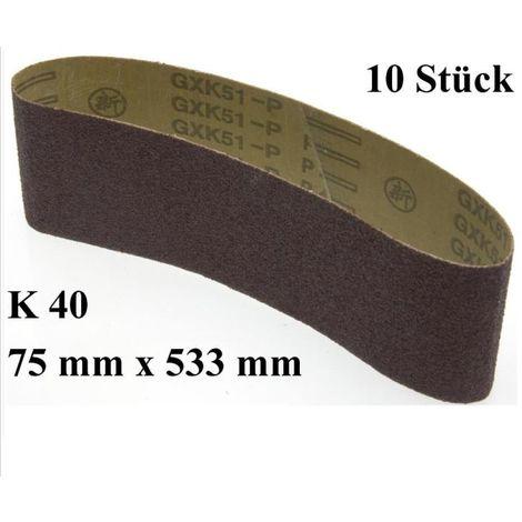 10 Stk Schleifbänder 75x533mm K40 Bandschleifer Schleifpapier Gewebeschleifband