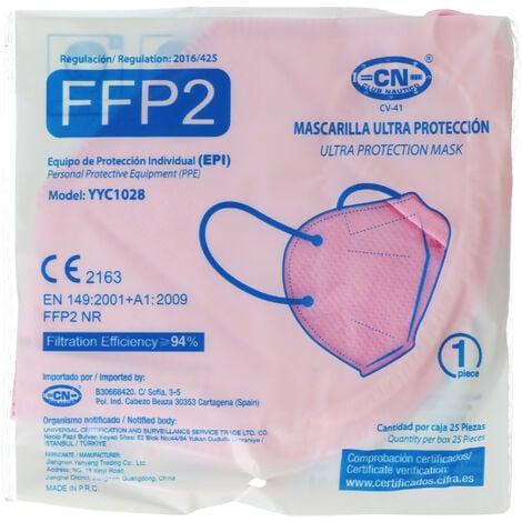 10 Stück FFP2 Maske Pink 5-Lagig, zertifiziert nach DIN EN149:2001+A1:2009, partikelfiltrierende Halbmaske, FFP2 Schutzmaske