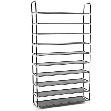 10 Tier for 60 pairs of Shoes Rack Standing Storage Organizer Grey 100 x 29 x 175cm LSR10G