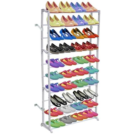 10 Tier Shoe Rack/Shelf - White