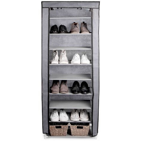 10 Tier Shoe Rack with Canvas Cover   Pukkr