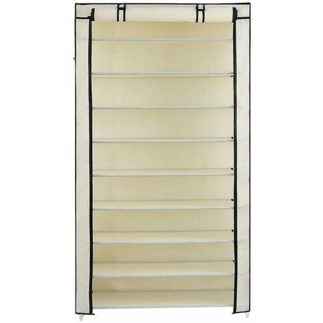 10 Tier up to 45 Pairs Adjustable Shoes Rack Cabinet Storage with Door 88 x 28 x 160cm Grey/Black/Light Brown/Beige