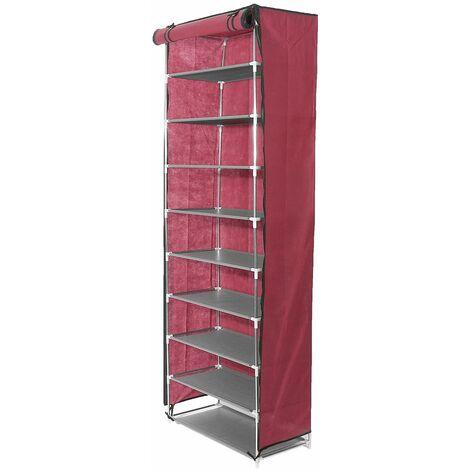 10 Tiers Shoe Rack Wardrobe Closet Shoe Storage Unit Red WASHED