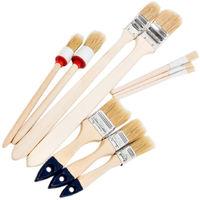 10 tlg Maler Pinsel Set Lackierpinsel Lack Lasur Rundpinsel Flachpinsel