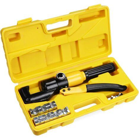 10 Tonnes 9 Matrices Coffret de Pince à Sertir hydraulique ,Outil de Sertissage Hydraulique, Pince à Sertir per les Bornes à Cliquet pour Cable 4-70 mm2