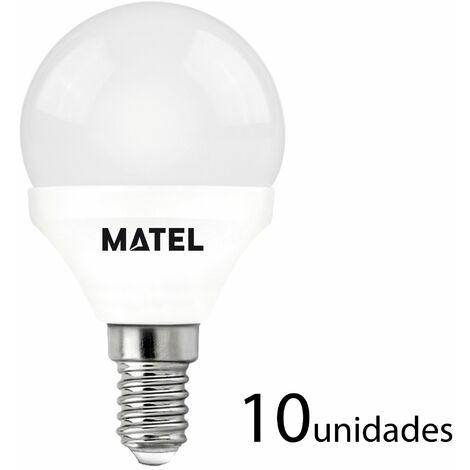 10 unidades bombilla LED esférica E14 7w cálida 650lm
