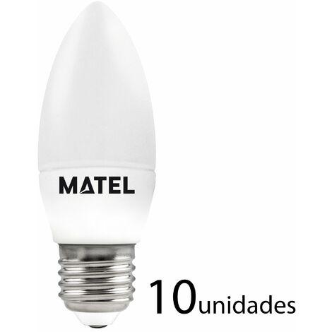 10 unidades bombilla LED vela E27 7w fría 700lm