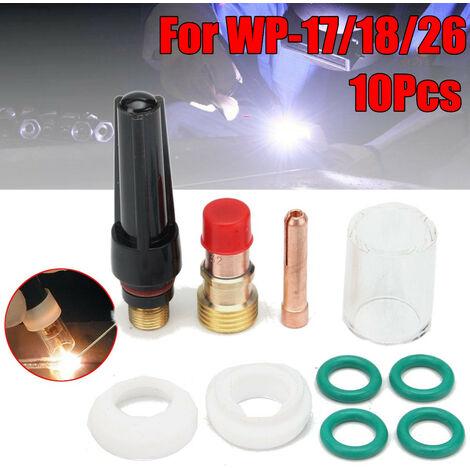 10 unids / set Kit de boquilla de alúmina del cuerpo del collar de la lente de Gas TIG para el soplete de soldadura WP-17/18/26 Mohoo TIG