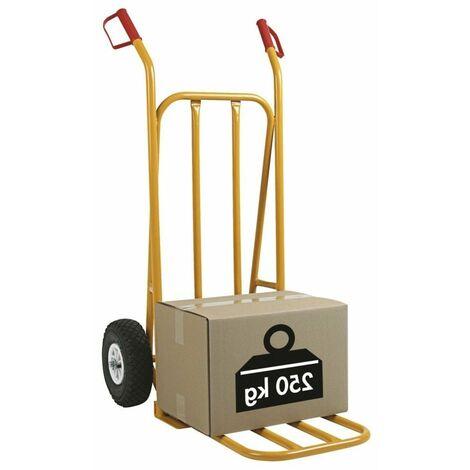 10 X (1 DIABLE ROUES GONFLABLES) Diable acier 250 kg BAVETTE FIXE BLEU 520 x 540 x 1070mm