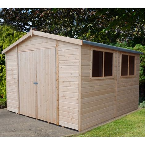 10 x 10 (2.99m x 2.99m) - Tongue & Groove - Garden Shed / Workshop - 6 Windows - Double Doors - 12mm Tongue and Groove Floor (CORE)