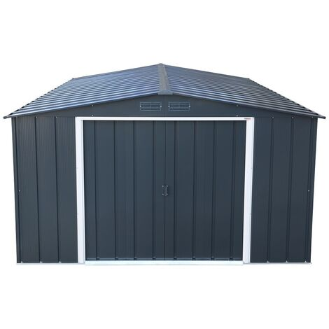 10 x 10 Value Apex Metal Shed - Anthracite Grey (3.22m x 3.02m)