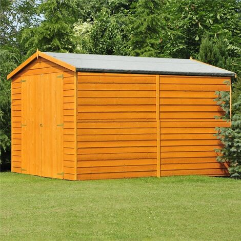 10 x 10 Windowless Dip Treated Overlap Apex Wooden Garden Shed with Double Doors (11mm Solid OSB Floor) - CORE (RS)