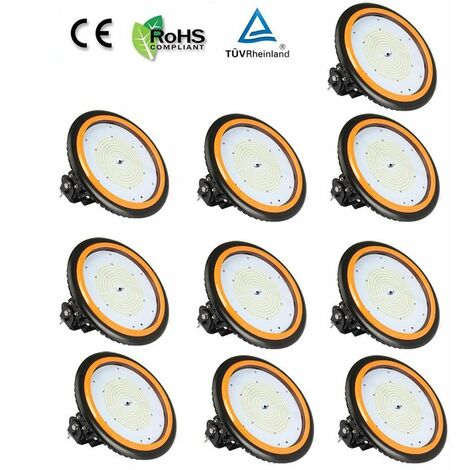10 x 150W 22000LM LED High Bay Low Bay Light Commercial Ceiling Industrial Light UFO IP65 Natural White for Warehouse Workshops